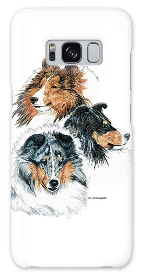 Shetland Sheepdog Galaxy S8 Case featuring the drawing Shetland Sheepdogs by Kathleen Sepulveda
