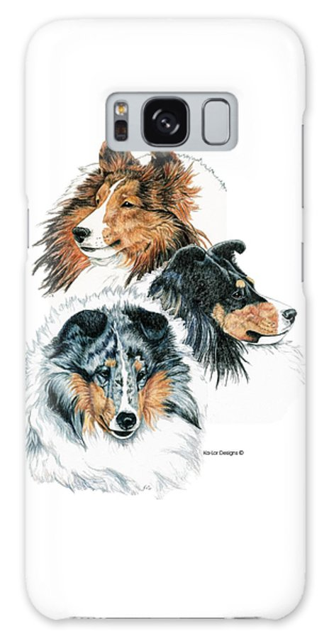 Shetland Sheepdog Galaxy Case featuring the drawing Shetland Sheepdogs by Kathleen Sepulveda