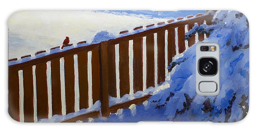 Landscape Galaxy S8 Case featuring the painting Side Yard Snow by Bob Thomas