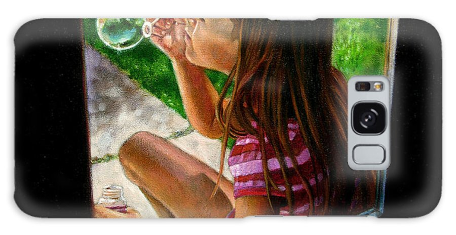 Girl Galaxy S8 Case featuring the painting Sierra Blowing Bubbles by John Lautermilch