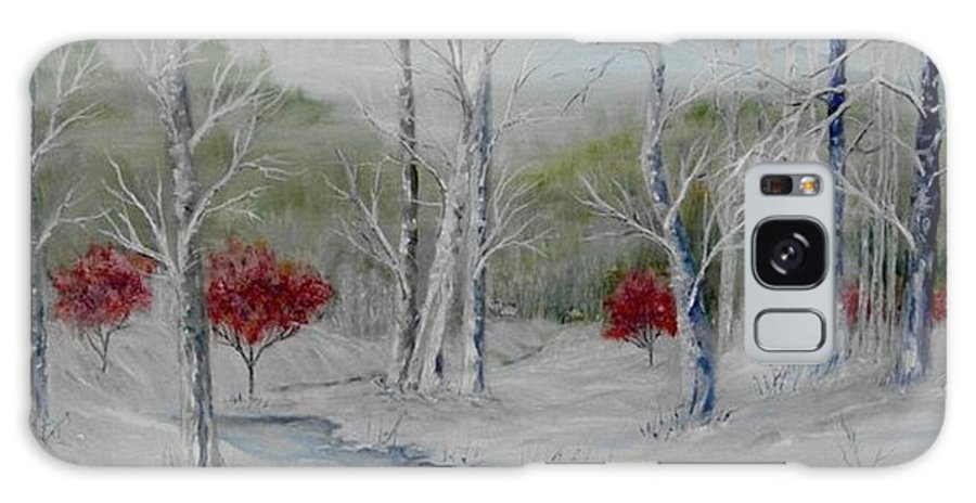 Snow; Winter; Birch Trees Galaxy S8 Case featuring the painting Silence by Ben Kiger