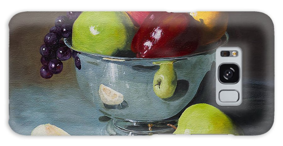 Still Life Galaxy S8 Case featuring the painting Silver Bowl Of Fruit by Michael Malta