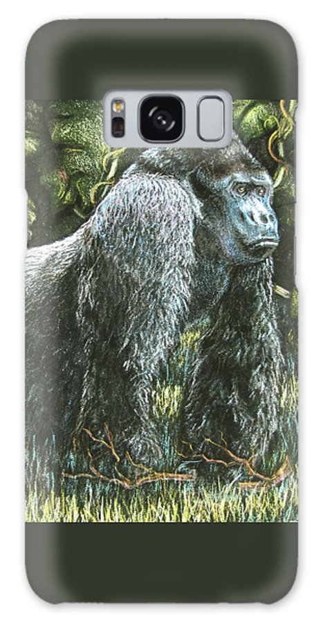 Fuqua - Artwork Galaxy S8 Case featuring the drawing Silverback-king Of The Mountain Mist by Beverly Fuqua