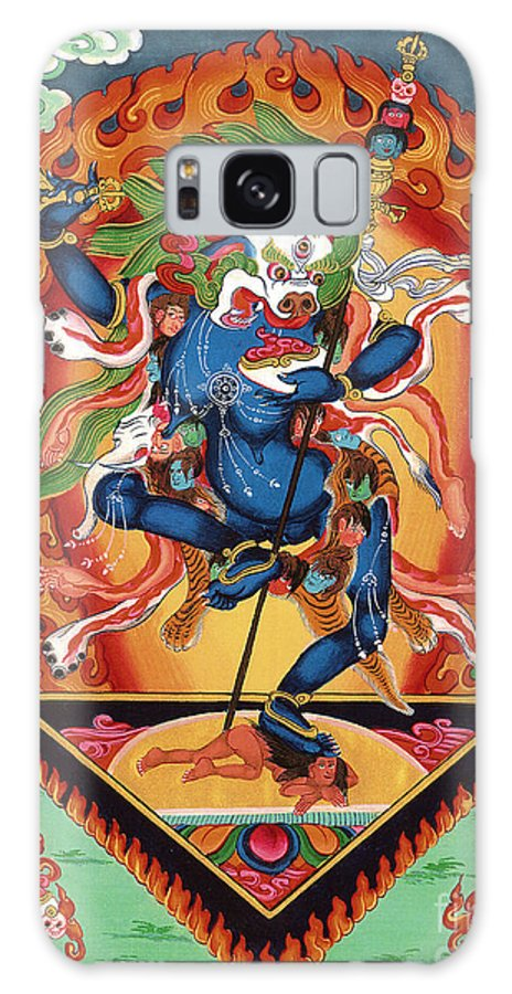 Thangka Galaxy S8 Case featuring the painting Simhamukha - Lion Face Dakini by Sergey Noskov