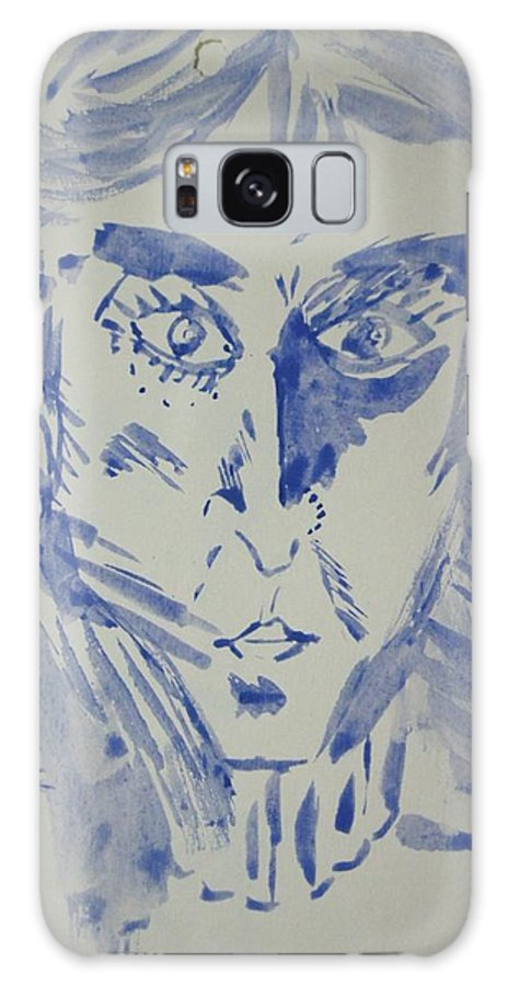 Portrait Galaxy S8 Case featuring the drawing Simple Portrait In Blue.water Color 1999 by Dr Loifer Vladimir