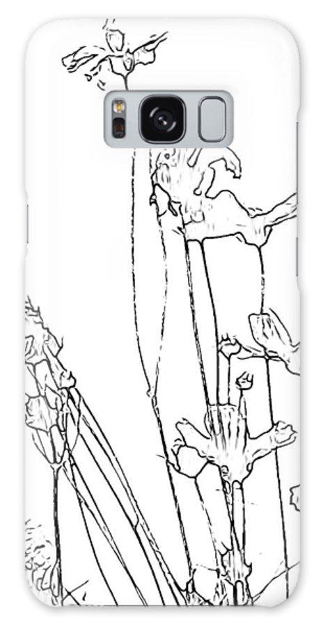 Simplistic Galaxy S8 Case featuring the digital art Simplistic Flower Sketch by Debra Lynch