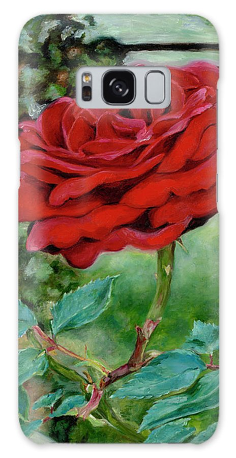 Red Rose Galaxy S8 Case featuring the painting Simply A Rose by Freida Petty