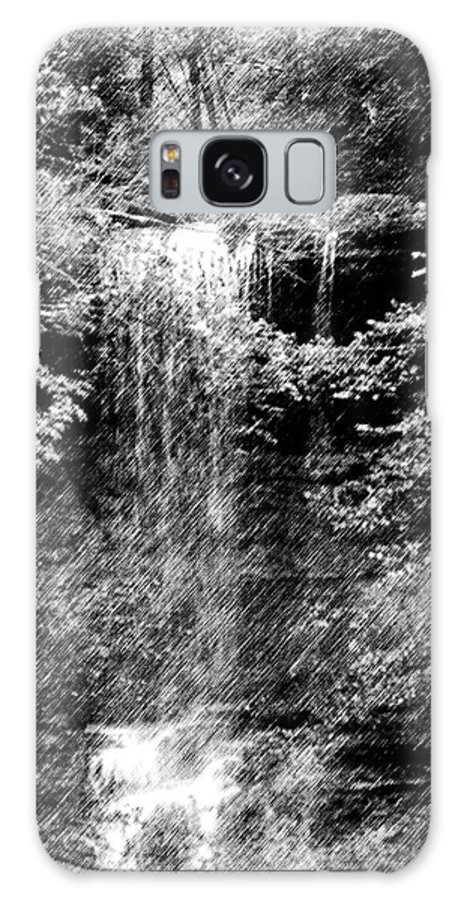 Digital Photograph Galaxy S8 Case featuring the photograph Simulated Pencil Drawing Tinker Falls. by David Lane