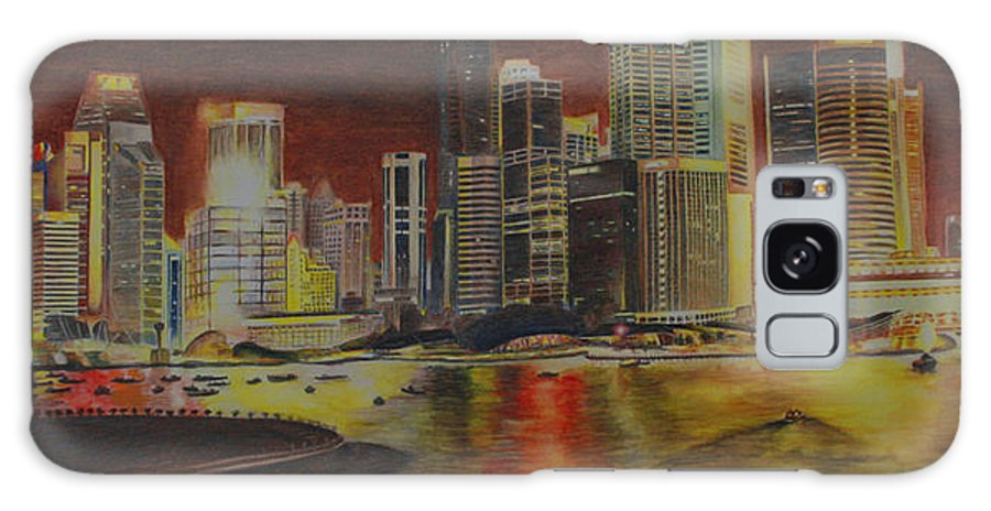 Cityscape Galaxy S8 Case featuring the painting Singapore Nights by Nik Helbig