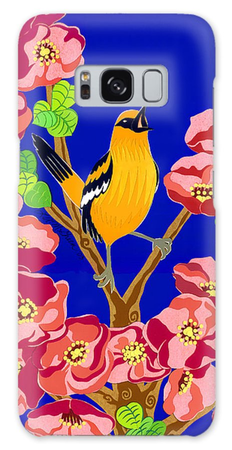 Nature Galaxy S8 Case featuring the drawing Singing Oriole by Lucyna A M Green