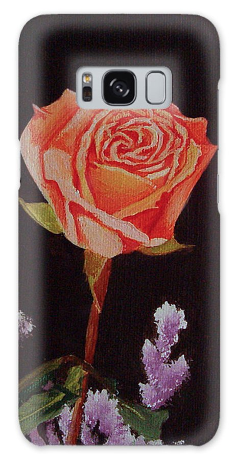 Rose Galaxy S8 Case featuring the painting Single Rose by Quwatha Valentine