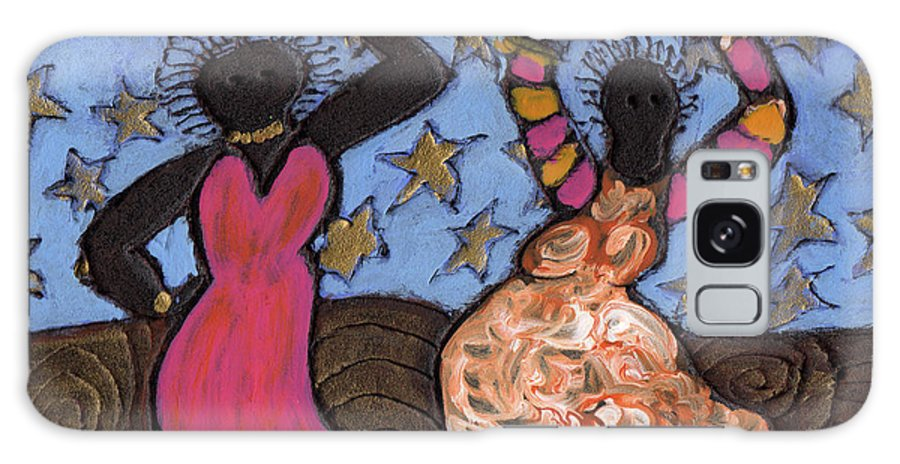 Folk Art Galaxy Case featuring the painting Sisters Sarah Sue And Sally Mae Swinging The Night Away by Wayne Potrafka