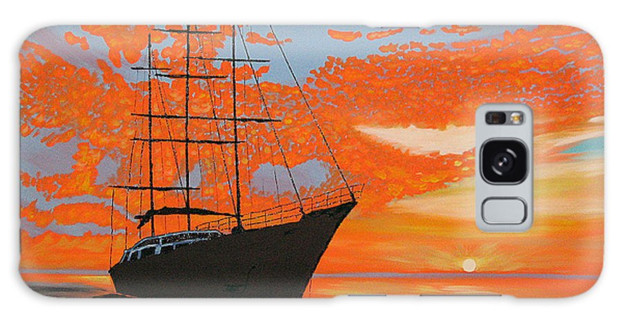 Seascape Galaxy Case featuring the painting Sittin' On The Bay by Marco Morales