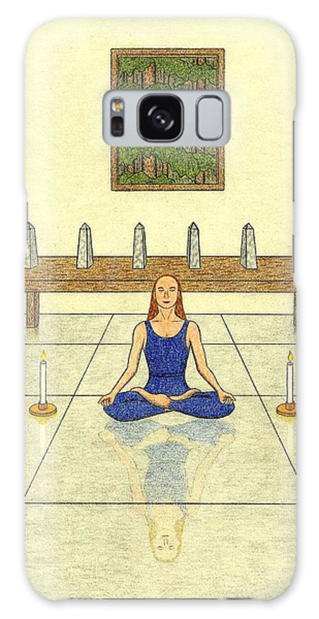 Meditation Galaxy S8 Case featuring the drawing Six Of Obelisks by Kathy Pullen
