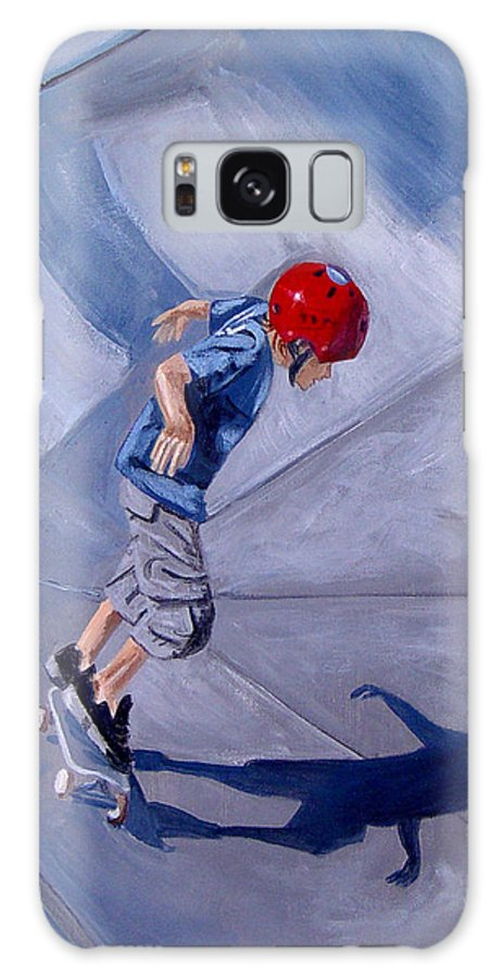 Boy Galaxy S8 Case featuring the painting Skateboarding by Quwatha Valentine