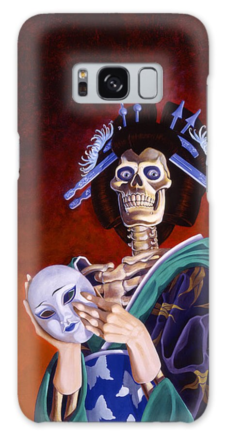 Skeleton Galaxy S8 Case featuring the painting Skeletal Geisha With Mask by Melissa A Benson
