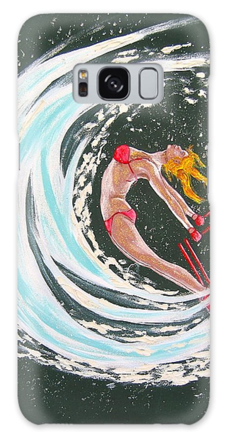 Abstract Sports Galaxy S8 Case featuring the painting Ski Bunny by V Boge