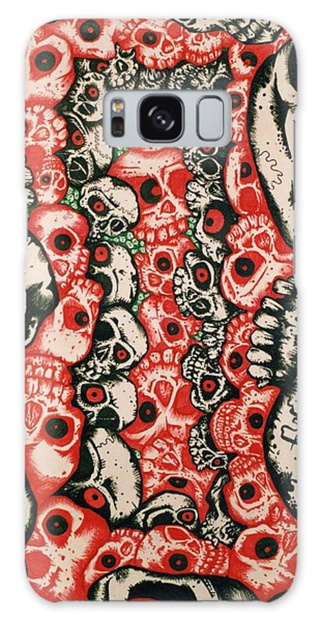 Skulls Galaxy S8 Case featuring the painting Skulls Infinate by Sam Hane