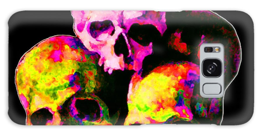 Pink Galaxy S8 Case featuring the painting Skulls by Vicky Brago-Mitchell
