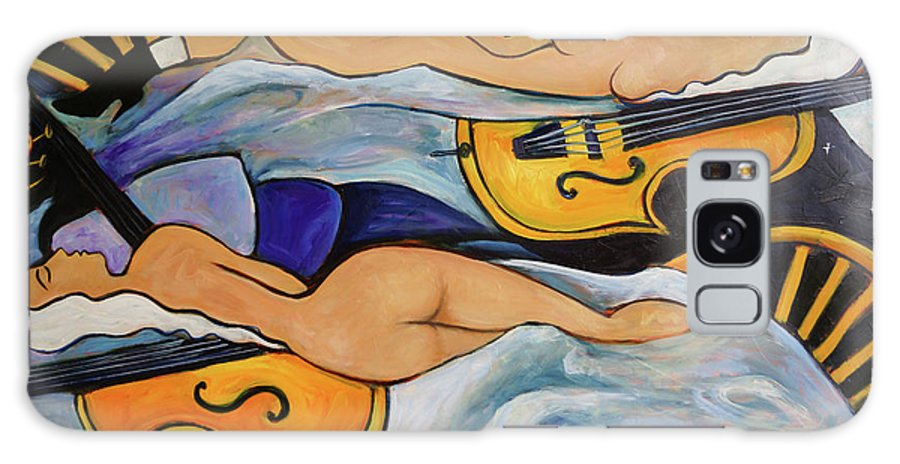 Musicians Galaxy S8 Case featuring the painting Sleeping Cellists by Valerie Vescovi