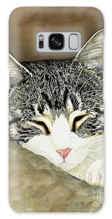 Cat Galaxy S8 Case featuring the painting Sleeping Mia by Shari Nees