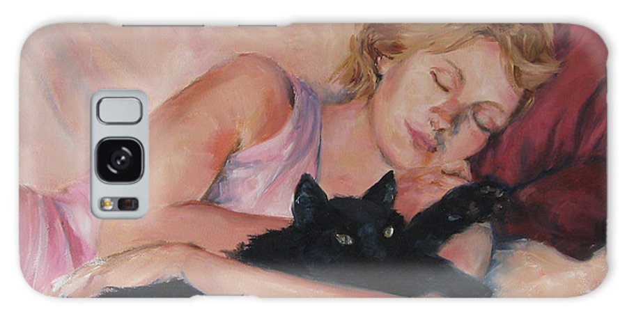 Portrait Galaxy S8 Case featuring the painting Sleeping With Fur by Connie Schaertl