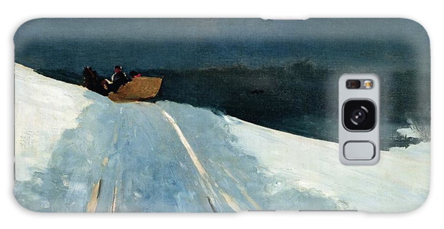 Winter Scene; Wintry; Snow; Snow-covered Landscape; Rural; Remote; Night; Darkness; Tracks; Path; Track; Moonlight; Sledge; Nocturne; Sleigh Ride Galaxy Case featuring the painting Sleigh Ride by Winslow Homer