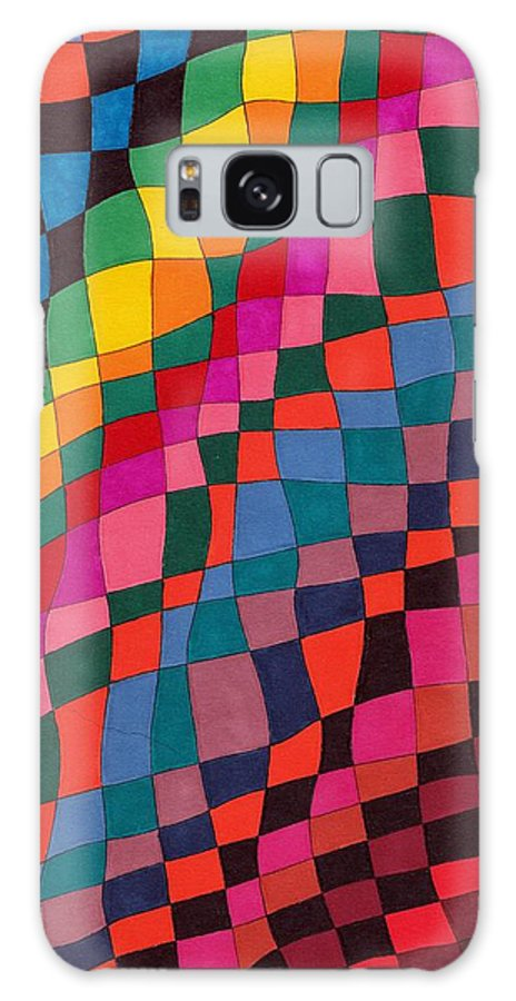 Abstract Pen Drawing Multicoloured Squares Rectangles Distorted Optical Art Fun Contemporary Galaxy S8 Case featuring the drawing Slip Sliding Away by Susan Epps Oliver
