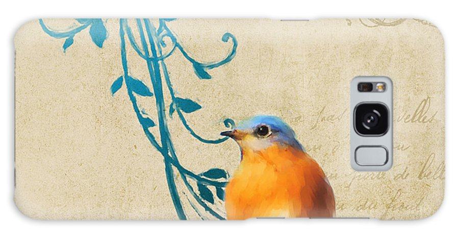 French Galaxy S8 Case featuring the painting Small Vintage Bluebird With Leaves by Jai Johnson