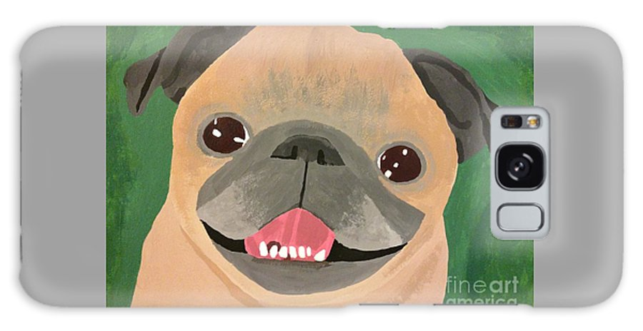 Galaxy S8 Case featuring the painting Smiling Senior Pug by Purely Pugs Design