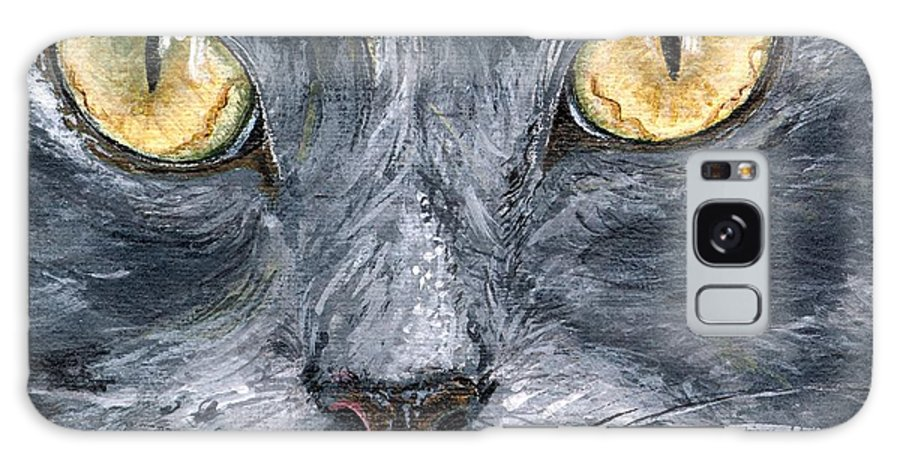 Charity Galaxy Case featuring the painting Smokey by Mary-Lee Sanders