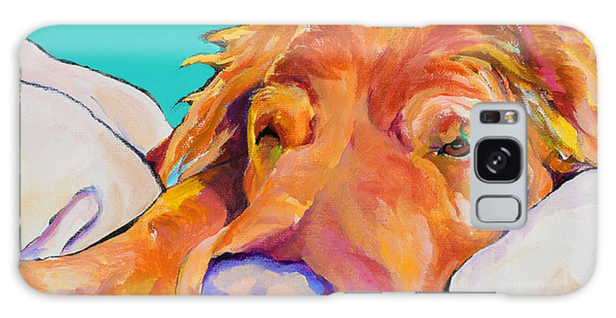 Dog Poortraits Galaxy S8 Case featuring the painting Snoozer King by Pat Saunders-White