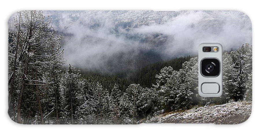 Yellowstone National Park Galaxy S8 Case featuring the photograph Snow And Clouds In The Mountains by Larry Ricker
