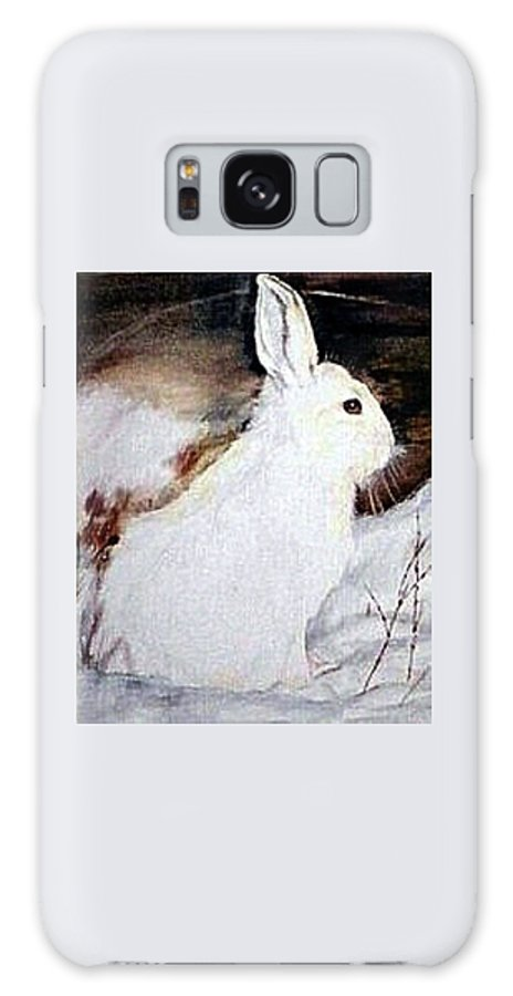 Snowshoe Hare Galaxy S8 Case featuring the painting Snow Bunny by Debra Sandstrom