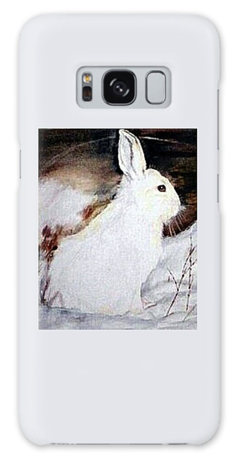 Snowshoe Hare Galaxy Case featuring the painting Snow Bunny by Debra Sandstrom