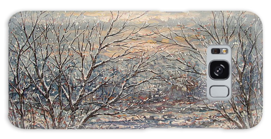 Landscape Galaxy Case featuring the painting Snow By Brook. by Leonard Holland