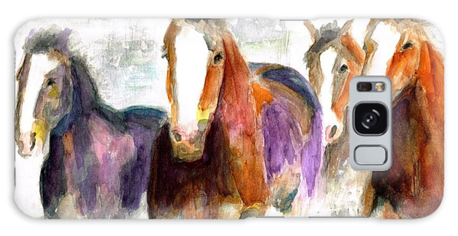 Horses Galaxy S8 Case featuring the painting Snow Horses by Frances Marino