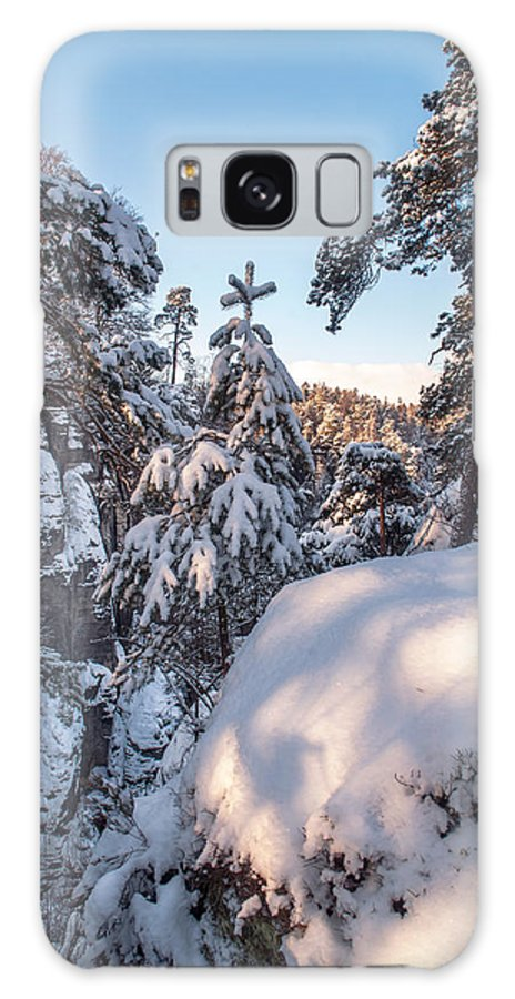 Saxon Switzerland Galaxy S8 Case featuring the photograph Snow In Saxon Switzerland by Jenny Rainbow