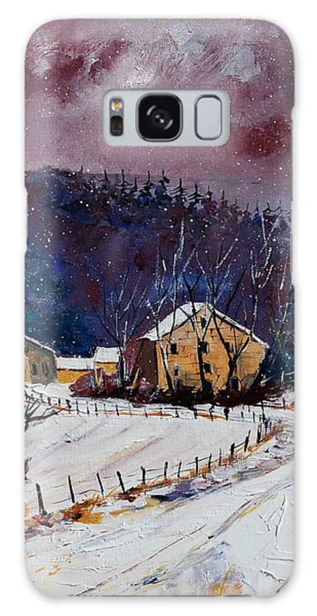 Landscape Galaxy S8 Case featuring the painting Snow In Sechery by Pol Ledent
