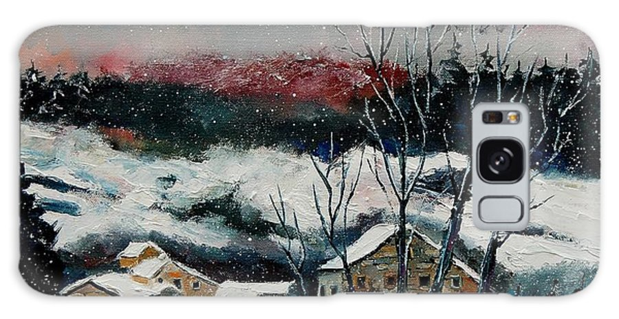 Winter Galaxy Case featuring the painting Snow In Sechery Redu by Pol Ledent