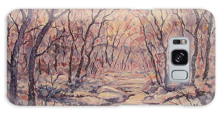Landscape Galaxy S8 Case featuring the painting Snow In The Woods. by Leonard Holland