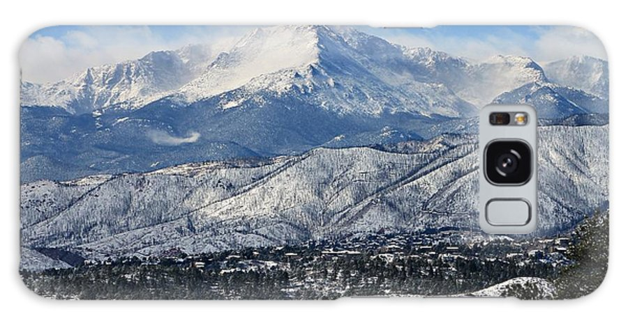 Mountain Galaxy S8 Case featuring the photograph Snowcovered Pikes Peak by Kathy Nikolaus