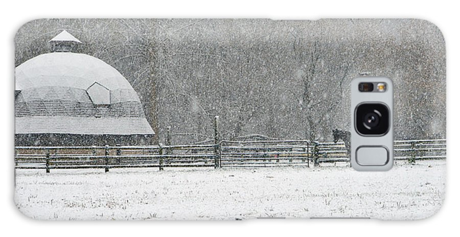 Horses Galaxy S8 Case featuring the photograph Snowing At The Round Barn by Regine Brindle