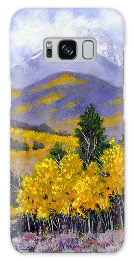 Rocky Mountains Galaxy Case featuring the painting Snowing in the Mountains by John Lautermilch