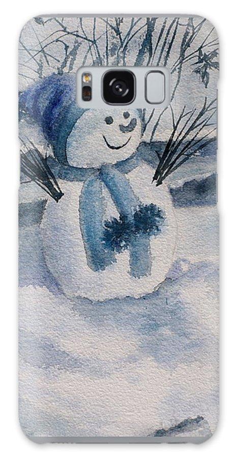 Snowman Galaxy S8 Case featuring the painting Snowman by Alla Kolerskaya