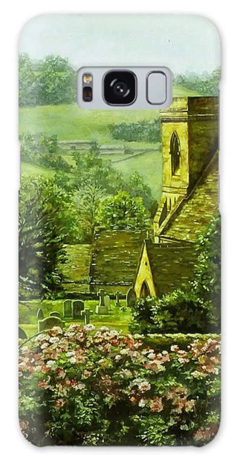 Landscape Church Galaxy S8 Case featuring the painting Snowshill by Ruth Stromswold