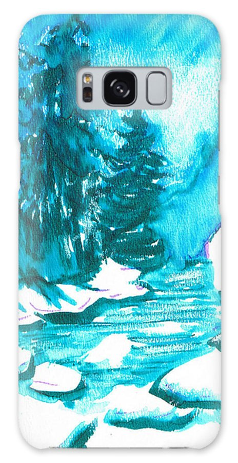 Chilling Galaxy S8 Case featuring the mixed media Snowy Creek Banks by Seth Weaver