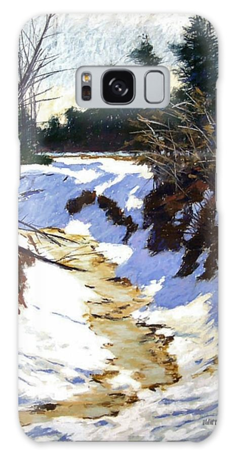 Pastel Galaxy S8 Case featuring the painting Snowy Ditch by Mary McInnis