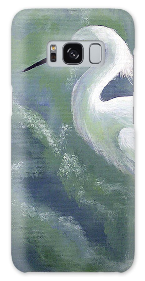 Egret Galaxy Case featuring the painting Snowy Egret In Water by Adam Johnson