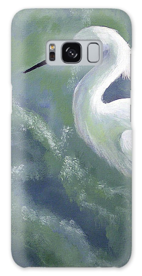 Egret Galaxy S8 Case featuring the painting Snowy Egret in Water by Adam Johnson